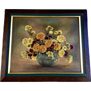 Gertrude Waterman, Still Life Oil Painting of Yellow, Orange and Burgundy Mums in Green Flower Vase Signed by Illinois Artist