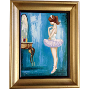 Morel, French Girl Ballerina Looking in a Mirror 1960's Oil Painting on Canvas Signed By Artist