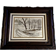 Robert Doney, Cold Winter Scene Watercolor landscape Painting Signed by Listed Artist
