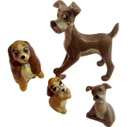Vintage Walt Disney's Lady & The Tramp Hagen Renaker Dog Family Mid-Century Figurine Set
