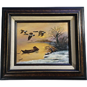 Traina, Geese Flying in the Sunset Oil Painting on Canvas Signed By Artist