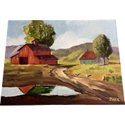 Old Red Barn on a Rural Homestead Oil Painting Signed Joyce