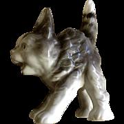 1945-1949 Scaredy Cat Ceramic Figurine US Zone Germany Gray Kitten Animal Figurine