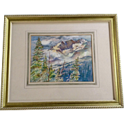 Thomas J Owens, Original Scenic View of Mountain Peak Watercolor Painting Signed By Listed Artist 1980's Colorado Artist NWS / AWS