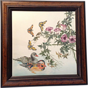 """Hoa Tran, Works on Paper, Color Pencil Drawing, Mandarin Ducks, Butterfly, Moth, Morning Glory Flower, Titled """"Spring"""", Original Signed by Artist"""