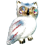 Vintage Sugared Owl Brooch Glass Bead Scatter Pin Aurora Borealis Eyes Signed Korea