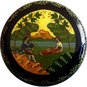 Vintage Russian Lacquer Round Trinket Box, Man Playing Flute for Woman