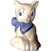 Vintage Mid-Century Ceramic Arts Studio Cat Figurine with Blue Bow California Pottery