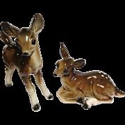 Inarco Japan Deer Fawn Baby Doe Pair Fine Porcelain Figurines Vase