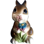 Vintage Napcoware Bunny Rabbit Blue Flowers Ceramic Animal Figurine  C-9094