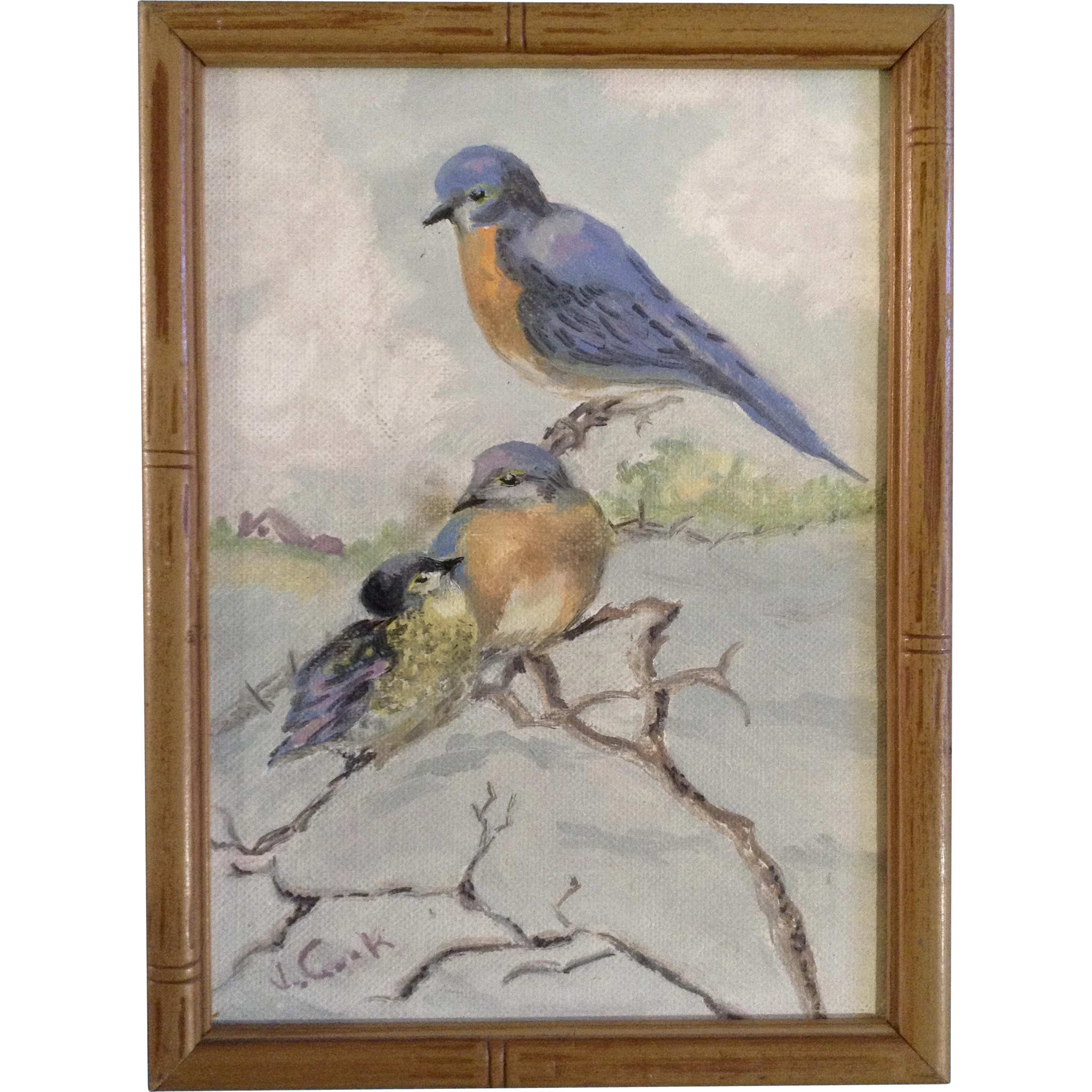 J cook bluebirds on a branch small oil painting on for Small canvas boards