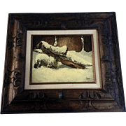 L Davis, Oil Painting on Board Snow Covered Log on a Rock Signed by Artist