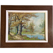 J. Van Dongen, Landscape Oil Painting Old Tree by the Pond Signed by Artist