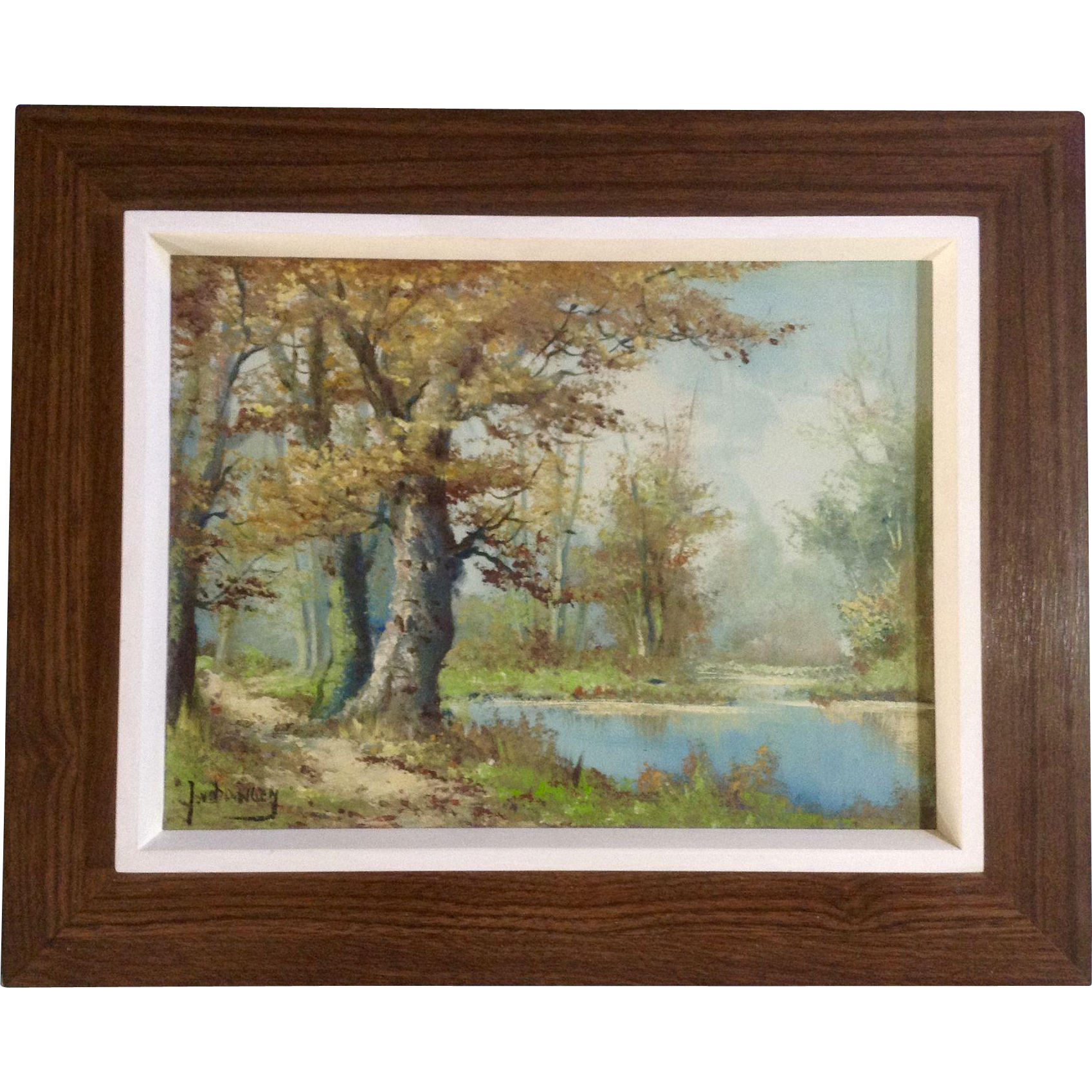 J Van Dongen Landscape Oil Painting Old Tree By The Pond
