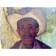 A Ennis, Impressionist Oil Painting On Canvas Old Ranchero Cowboy Portrait Signed by Artist