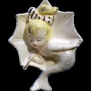 Vintage Enesco Umbrella Mermaid Wall Plaque 1950's Figurine