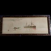 Vattero, 19th Century Chromolithograph Italian School Fisherman Watching a Cruise Ship