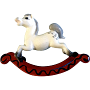 "Vintage Discontinued Hagen Renaker Rocking Horse #990, 2"" 1981- 1993 Ceramic Figurine"