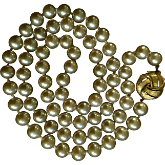 "Vintage Duchess Simulated Pearl Strand Necklace Signed 25"" Hand Knotted"