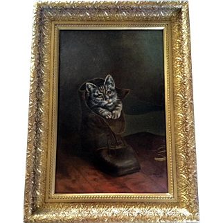 James Clark Oil Painting on Board 19th Century, Cat in a Boot or Kitten in a Shoe Signed by Artist