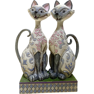Retired Jim Shore Scheming Suitors Si & Am Siamese Cats Disney's Lady And The Tramp Resin Rare Figurine