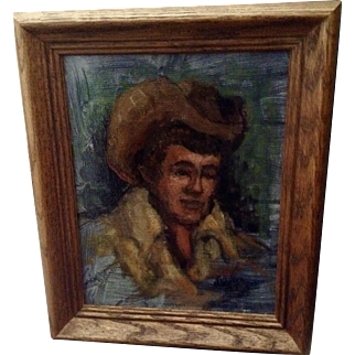 W Wellter, Young Cowboy 1977 Oil Painting on Canvas Signed by Artist