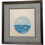 Dreamer, Limited Edition Etching 97/100 Lady Floating in a Blue Sea with Moon and Seagull Bird Flying Above, Signed by Artist