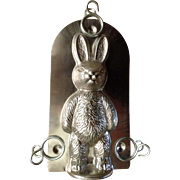 Vintage Adorable Chocolate Bunny Mold Tin with 3 Clips 1970's-1980's