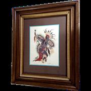 Woodrow Wilson Woody Crumbo (1912-1989), Native Potawatomi Kachina Scalp War Dance Silk Screen Print Signed by Listed Artist