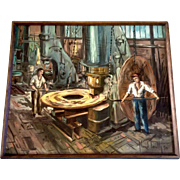 Marcel Teruth Oil Acrylic Painting Foundry Workers Operating a Huge Mill Signed by Artist