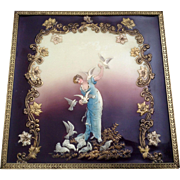 Vintage Art Deco 3D Celluloid Picture of a Woman Feeding White Doves in Frame