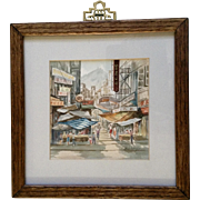Busy Hong Kong Street Market Scene Watercolor Painting Works on Paper Signed by Artist