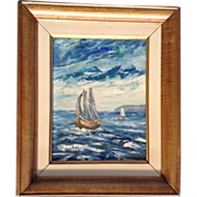 Raymond Quirion (1919-2009) Oil Painting on Board Original Listed Canadian Artist  Sail Boats