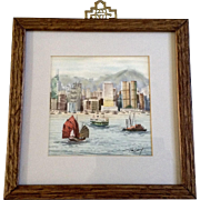 Hong Kong Harbor Watercolor Painting Works on Paper Signed by Artist