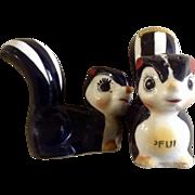 Vintage Skunk Salt & Pepper Shakers Niagara Falls, Canada Souvenir Mid-Century Ceramic Figurines