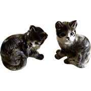 1950s Kasuga Ware Playful Cat Japan Handcrafted Ceramic Figurines