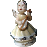 Vintage August Birthday Angel Playing a Mandolin Instrument Japan Ceramic Figurine