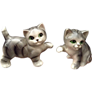 Japan Mid-Century Salt & Pepper Shakers Playful Cats Ceramic Figurines