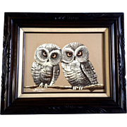 Frank Walcutt Oil Painting Owls on a Branch Signed by Artist