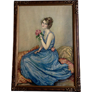 Vintage Lithograph Titled, Blue Gown Print Picture C1133 NRA Code 1930's In Original Wood Frame