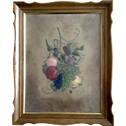 H Dunn, Large Still Life Pastel Drawing of Grape Vines and Fruit on Felt Paper Signed by Artist