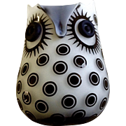 Vintage Art Glass White Owl Vase Black Raised Polka Dots