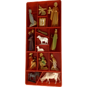 Vintage Tiny Colored Miniature Nativity Set Made in West Germany Dollhouse Plastic Figurines Christmas Display