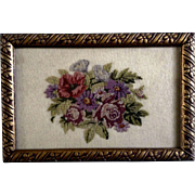 Vintage Beautifully Framed Embroidery Needlework Handmade Small Floral Picture