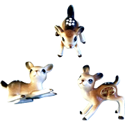 Bone China Miniatures Deer Fawn Set Vintage Japan Animal Figurines