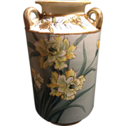 Nippon Vase Hand Painted Moriage Gold Gilded Art Deco Floral 3 Handled 1911-1920's