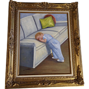 Ethel F Walker, Sleepy Time, Oil Painting on Canvas Board Signed By Well Known Colorado Artist
