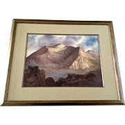 Magrin, Mount Bierstadt Colorado Watercolor Photorealism Painting Works on Paper Signed by Artist
