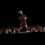 Vintage Asian Flute Man With Sheep Brass Bronze Handmade Sculpture Figurine