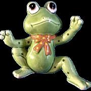 1986 Geo Z Lefton Ceramic Anthropomorphic Frog 04853 Hand Painted Japan Figurine